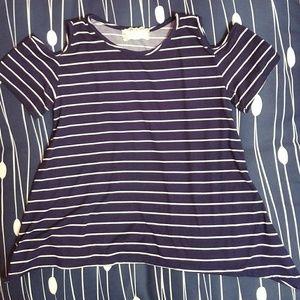 Girls Striped Cutout Shoulder Top
